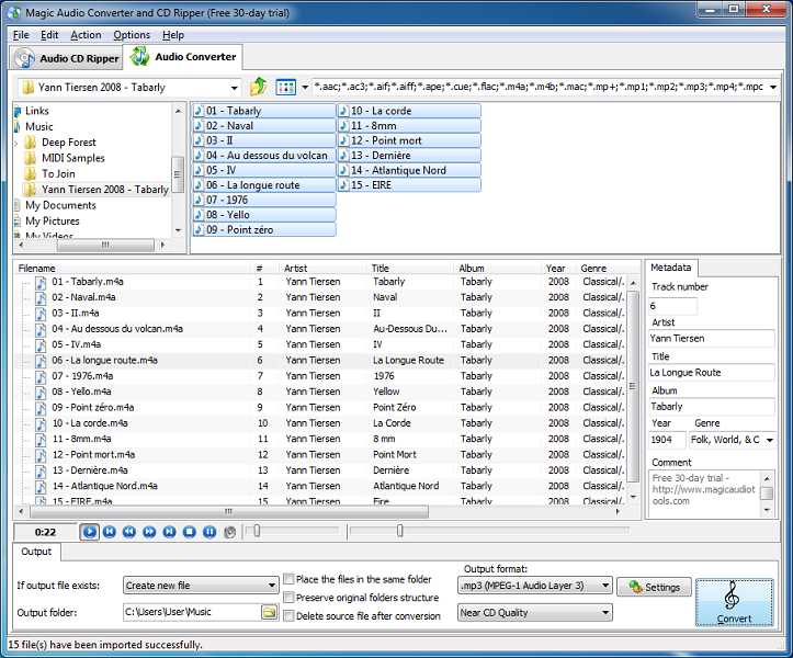 Click to view Magic Audio Converter and CD Ripper 2.7.20 screenshot